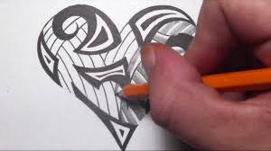 drawn heart design drawing pencil and in color drawn heart