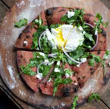 beet crust and arugula pizza with goat cheese baking steel