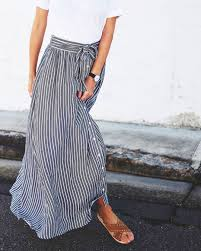 Long Flowy Maxi Skirt Gray U0026 White Stripes U2026 Pinteres U2026
