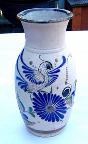 Mexican Pottery Vases Mexican Tonala Pottery Vase Signed Mexico Folk Art Pottery Bird Flower