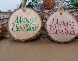 tree wood slice ornaments set of 2 wood slices