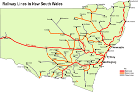 map of new south wales rail transport in new south wales