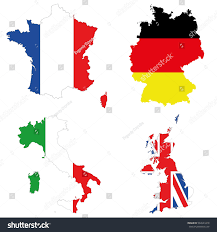 Italy France Map by Detailed Map Top Four Greatest States Stock Vector 562643218