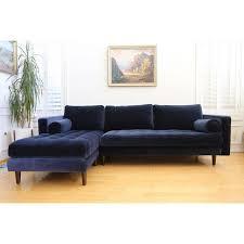 Velvet Sectional Sofa Mid Century Modern Navy Blue Velvet Sectional Sofa Chairish