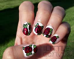 red roses nail art tutorial the little canvas