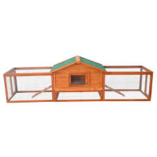pawhut pawhut deluxe rabbit hutch chicken coop with double outdoor
