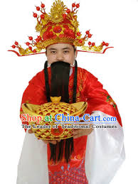 costume new year ancient god of wealth costume accessories set cai shen new