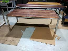 design tischle tisch holz metall nussbaum stahl edelstahl aus holz metall aussen