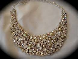 pearl bib statement necklace images Crystal and pearl swarovski bridal statement necklace the jpg
