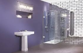 glass corner shower enclosure in purple bathroom great corner