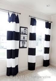 Black White Stripe Curtain Wide Striped Curtains Foter