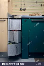 vegetable storage kitchen cabinets vegetable storage compartment in modern fitted kitchen stock