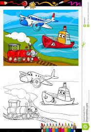 cartoon plane train ship coloring page royalty free stock image