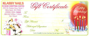 salon gift card nails gift certificate outer banks nail salon gift certificates