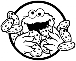 cookie monster clipart black and white pencil and in color