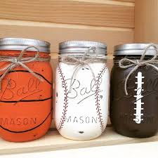 Basketball Centerpieces Set Of 3 Hand Painted Sports Themed Mason Jars Boys Birthday