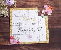 will you be my flower girl gift flower girl gift puzzle invitation custom will you be