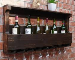 industrial rustic modern 8 bottle wine rack with 6 glass slot