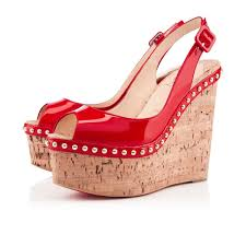 christian louboutin wedges monico 140 mm red patent leather