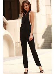 plunging jumpsuit black plunging neck sleeveless backless jumpsuit black jumpsuits