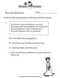 main idea practice worksheets worksheets