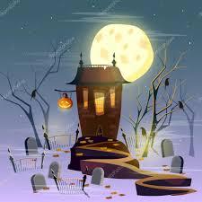 halloween ghost house mystical background halloween u2014 stock vector