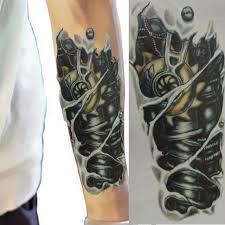 new blackfake tattoo fashion man 3d tattoo robot arm temporary