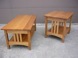 quartersawn oak mission style coffee table and end table for the