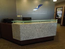 High End Reception Desks Custom Design Cabinetry Gives New Look To Sioux Falls Chamber