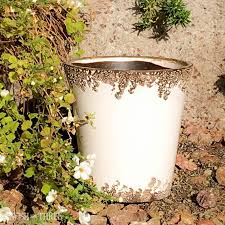 Shabby Chic Flower Pots by Crackled Garden Glazed Ceramic Garden Or Home Pots In Red White