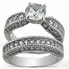 Stainless Steel Wedding Rings by Style Stainless Steel Cz Bridal Wedding Ring Set
