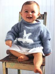 knit a cute baby sweater with toy bunny canadian living
