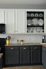 two tone painted cabinet and white contrasting kitchen cabinet