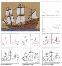 how to draw thanksgiving draw the mayflower thanksgiving tutorials and drawings