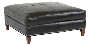 leather and metal ottoman square black leather ottoman coffee table with metal nail accent and