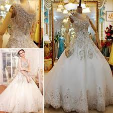 vintage plus size wedding dresses custom made 2014 luxurious a line beaded v neck crewl