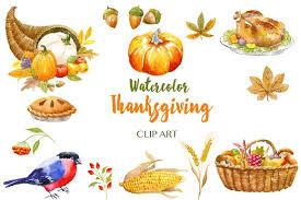 thanksgiving watercolor clip illustrations creative market