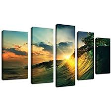 framed susnet sea wave ocean picture wall art large canvas prints