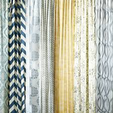 Blue And Beige Curtains Mid Century Cotton Canvas Etched Grid Curtains Set Of 2