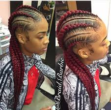 red cornrow braided hair feed in braids natural hair style braids pinterest hair
