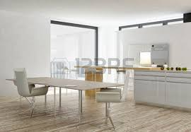 Modern White Dining Room with Modern Grey And White Dining Room With Wooden Floor Stock Photo