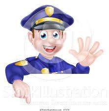 vector illustration of a cartoon happy caucasian male police