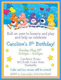 12 printed care bear inspired personalized birthday invitations