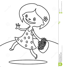 cute walking with bouquet of flowers coloring page stock