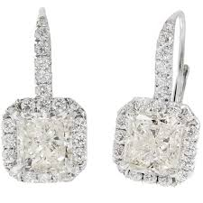 white gold dangle earrings suchy radiant cut diamond halo white gold dangle earrings