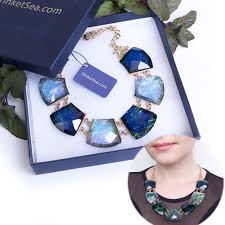 fashion jewelry statement necklace images Women blue crystal short chain statement necklace chokers style fashio jpg