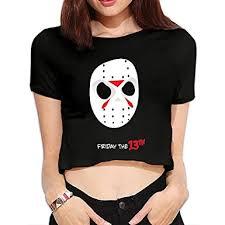 amazon black friday clothing amazon com women u0027s friday the 13th jason voorhees mask crop top t