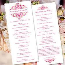 gold wedding programs slim wedding program grace fuchsia pink chagne gold wedding