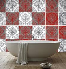 Tile Stickers by Wall Tiles Red Damask