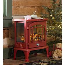 portable electric stove heater red metal glass space fireplace